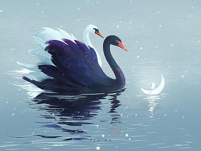 Winter blue adventure lake swan winter white illustration art