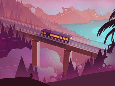 It's windy purple cloud bridge bus flat tree art scenery illustration wind