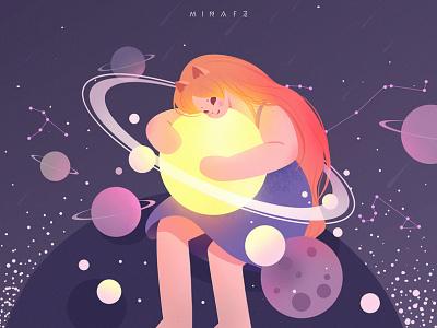 Catwoman purple girl constellation moon flat illustration art catwoman
