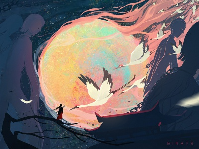 Migration crane people black red moon illustration art