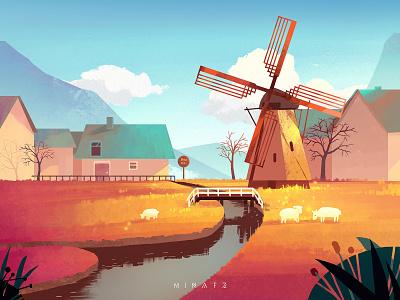 Windmill town sheep flat scenery illustration art town
