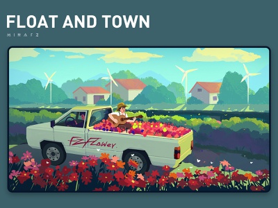 Float and town guitar people flowers town red green tree scenery flat illustration art