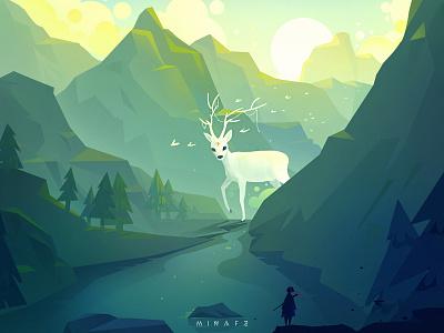 Valley deer green illustrations tree illustration scenery