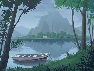 Rainy day boat green scenery tree illustration rain