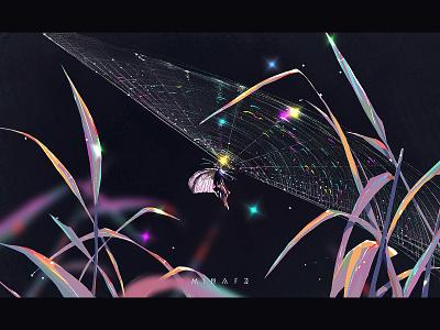 Cobweb purple blue dream illustration art