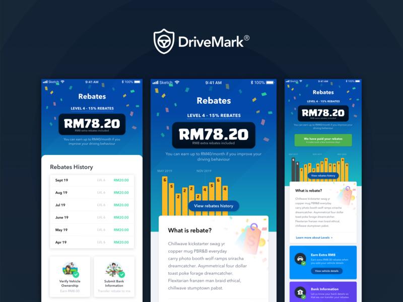 DriveMark - Rebates wallet insurance malaysia mobile ui mobile app list history chart graph mobile ios rebates