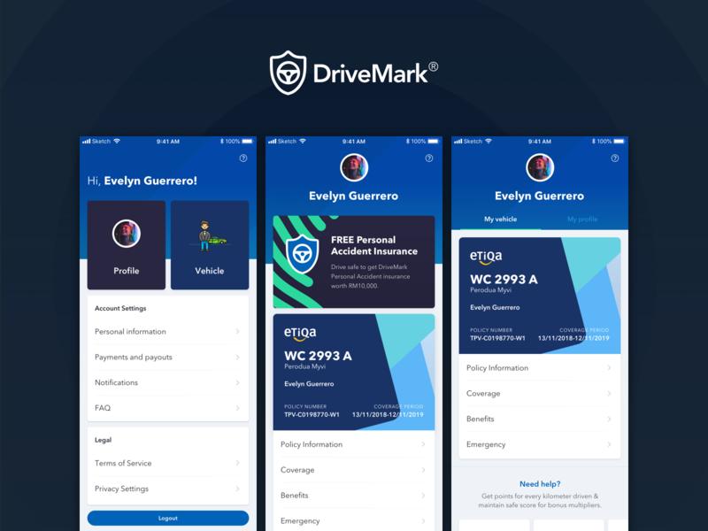 DriveMark - Profile list menu insurance mobile app mobile ui card profile