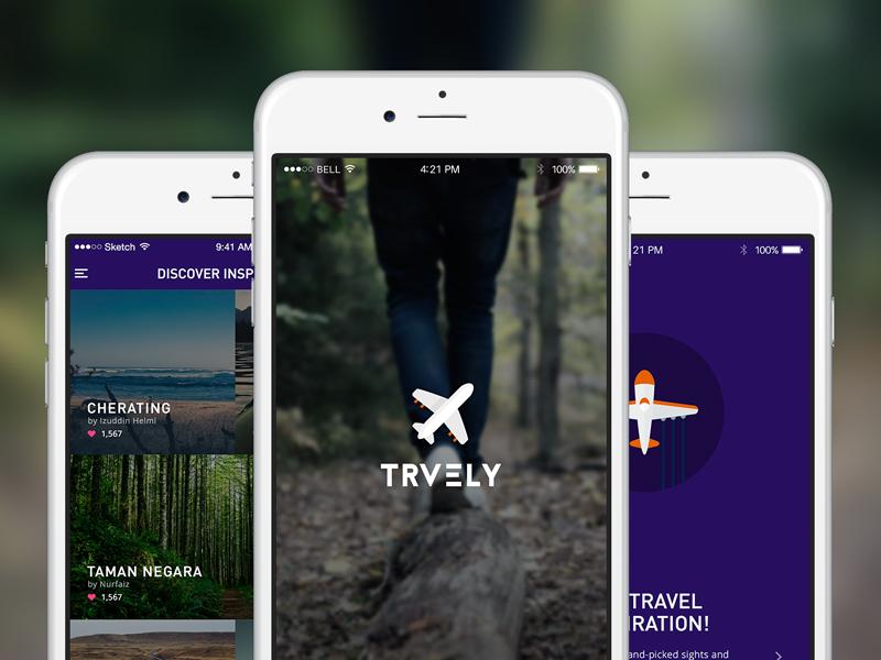 Trvely iphone ios form destination download sketch freebie travel nature ux ui mobile