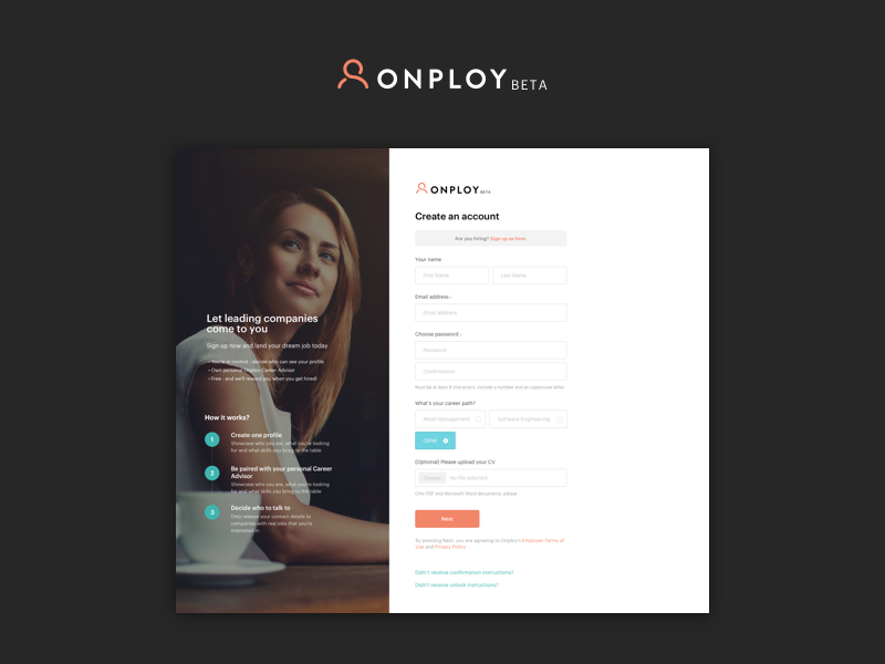 Onploy.com - Candidate Signup onploy create account login input forms job candidate signup
