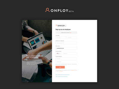 Onploy.com - Employer Signup onploy create account login input forms job candidate signup