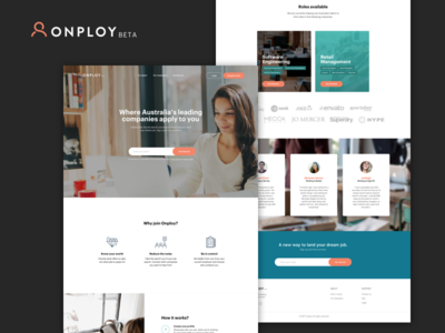 Onploy.com - Landing Page employee employer onploy create account login input forms job candidate signup