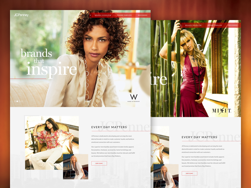 JCPenney Corporate Brands ux ui landing page homepage grid photography clean responsive web design fashion