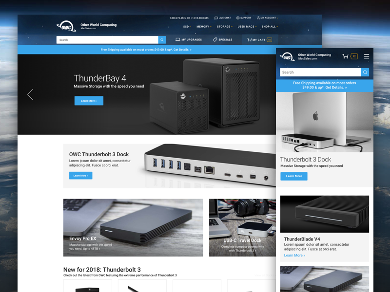 Other World Computing (OWC) cms homepage grid clean branding experience ux ui web design responsive ecommerce