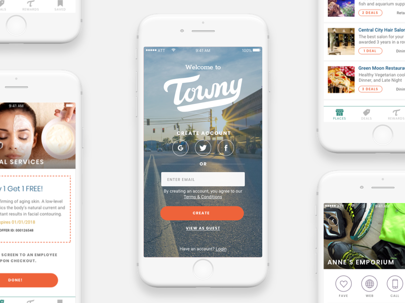 Towny iphone ux ui clean app mobile