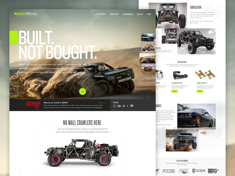 GasPedal Industries art direction ux ui product website grid responsive homepage offroad jeep truck racing