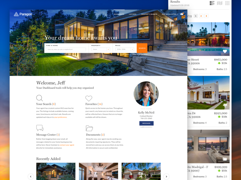 Paragon Realty Software real estate software mobile web design responsive homepage branding ux ui