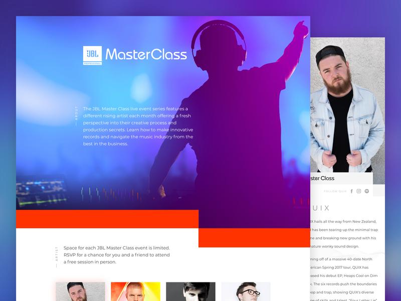 JBL MasterClass - V1 mobile responsive ux ui branding landing page homepage art direction