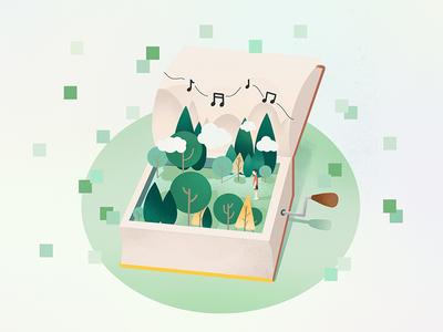 引导页的小插画--树林