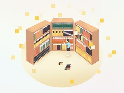 引导页的小插画--书店