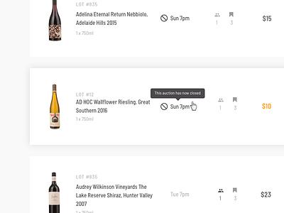 Auctions digital design wine auction prototype uiux sydney ux