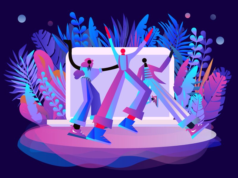 Carnival of office workers in front of computers colors ai illustrations