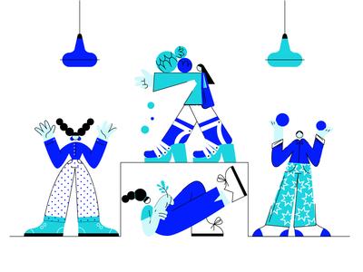 Blue illustration - men and women