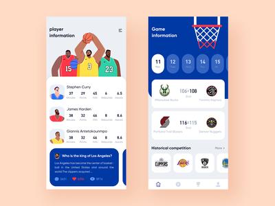 Sports interface NBA interface