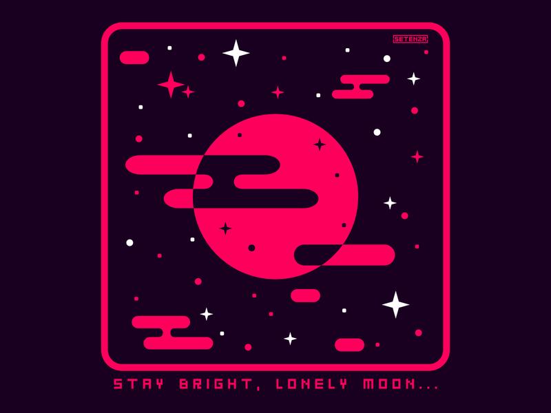 Stay Bright, Lonely Moon stars vector art vectorart vector design original art setenzaart