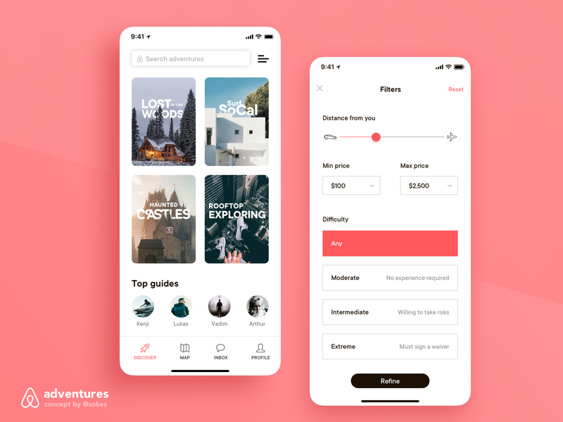 Airbnb Adventures Concept / Static 3 exploration ui  ux airbnb discovery ux ui filters filter discover
