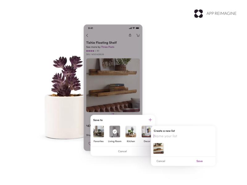 Wayfair App Reimagined - Favoriting android furniture design ecommerce uiux ui ios mobile