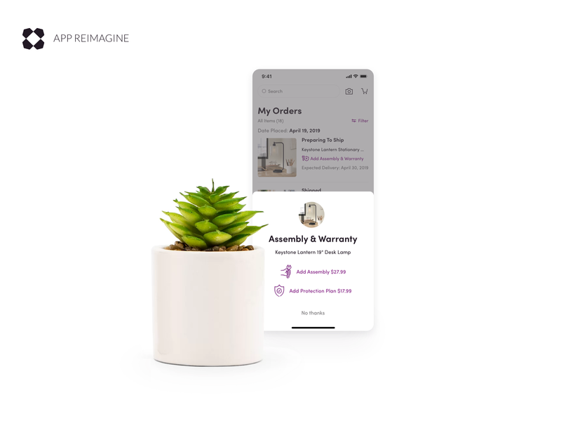 Wayfair App Reimagined - Assembly & Warranty leadership lead ecommerce design furniture uxui ui android ios mobile