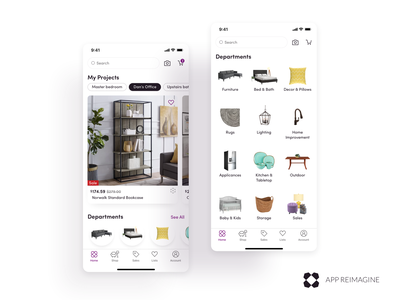 Wayfair App Reimagined - Home & Departments mobile ios android ui uxui furniture design ecommerce