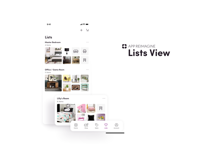 Wayfair App Reimagined - Lists View leadership redesign lead mobile ios android ui uxui furniture design ecommerce
