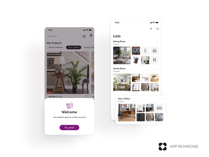 Wayfair App Reimagined Welcome & Lists View leader redesign leadership lead ios mobile android ui uxui furniture design ecommerce