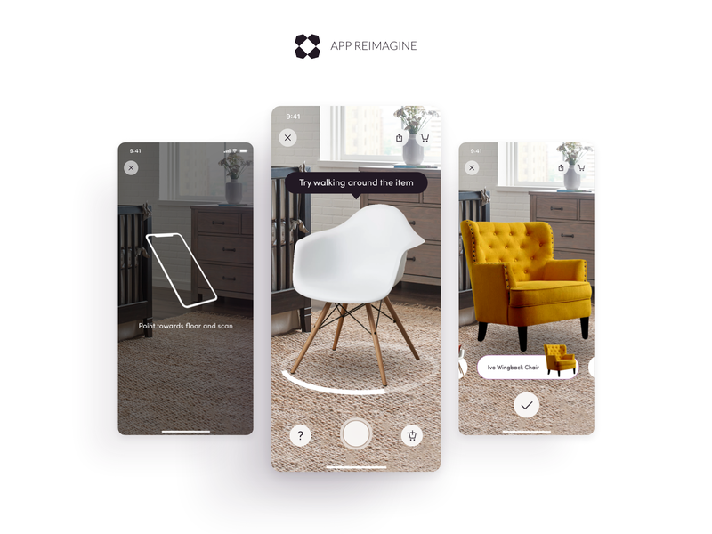 Wayfair App Reimagined - Augmented Reality Experience leadership lead uiux ui ecommerce android ios mobile redesign 3d augmented reality augmentedreality ar