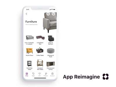 Wayfair App Reimagined / Prototype 2 cgi 3d ecommerce lead prototype redesign concept animation ux ui mobile ios