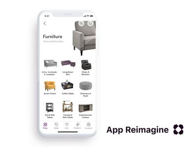 Wayfair App Reimagined / Prototype 2 cgi 3d ecommerce lead prototype redesign concept animation ux ui mobile ios