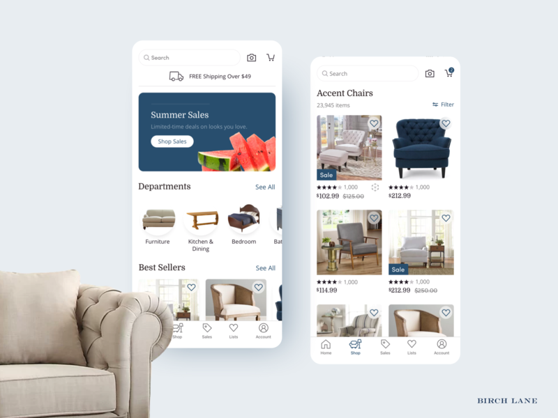 Birch Lane iOS and Android Launch / Static 1 android app ecommerce lead design ux ui launch ios app mobile android ios