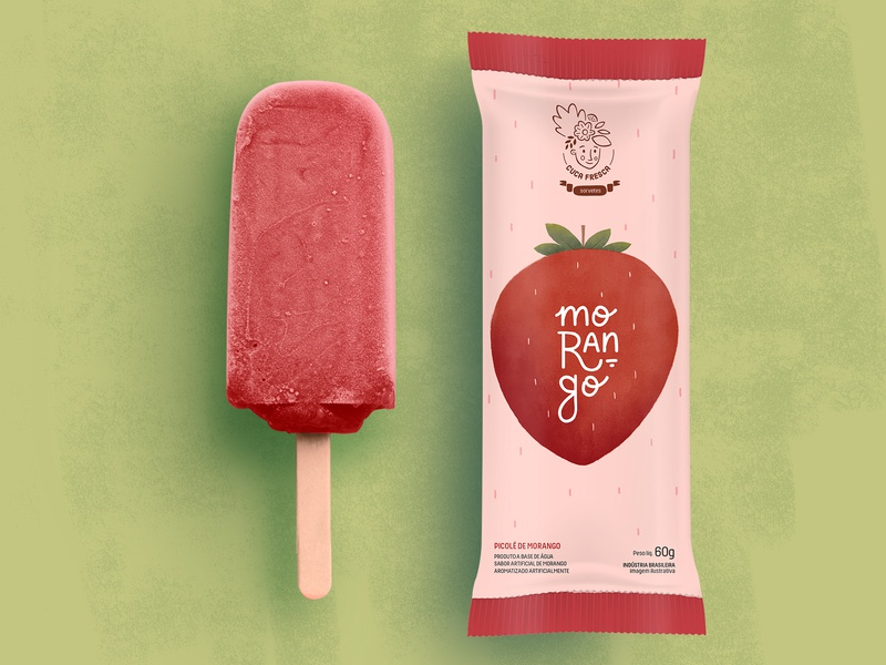 Ice cream package mockup dribbble food and drink brand visual identity popsicle package pack packaging ice cream icecream fruit illustration fruits strawberry food fruit design illustration logo branding