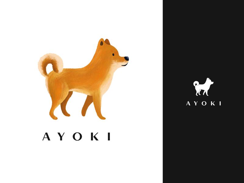 Ayoki Store visual identity store logos logotype mascot design dog logo dog mascot logo mascot animal logo typography cartoon branding character vector illustration flat minimal simple