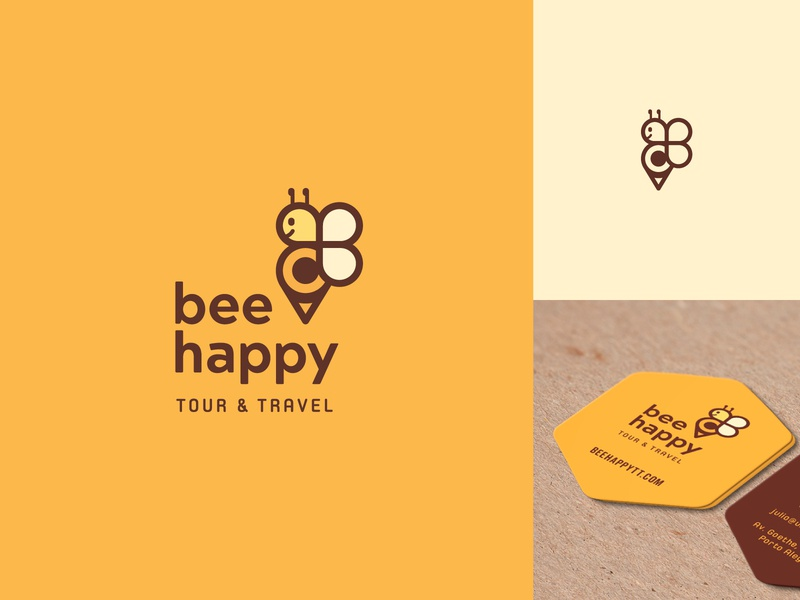 Bee Happy Tour & Travel pin yellow mascot logo brand travel agency mascot animal logo animals animal bee design branding icon app typography logo flat illustration minimal simple