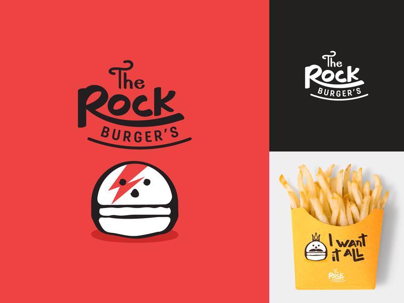 The Rock Burger's brand design brand handlettering burger logo mascot logo mascot skull icon rock burger type logotype typography logo branding character vector illustration minimal simple