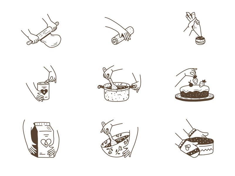 Cooking process - icon set iconography icon set icons cartoon illustration cake vectors illustrator food cooking hand logo cartoon design icon branding vector illustration flat minimal simple
