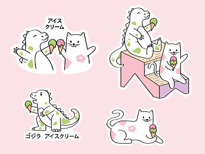 Mascots for ice cream shop mascot logo pet japanese ice cream gojira godzilla cat mascot animals animal japanese art japan cartoon colorful character vector illustration flat minimal simple
