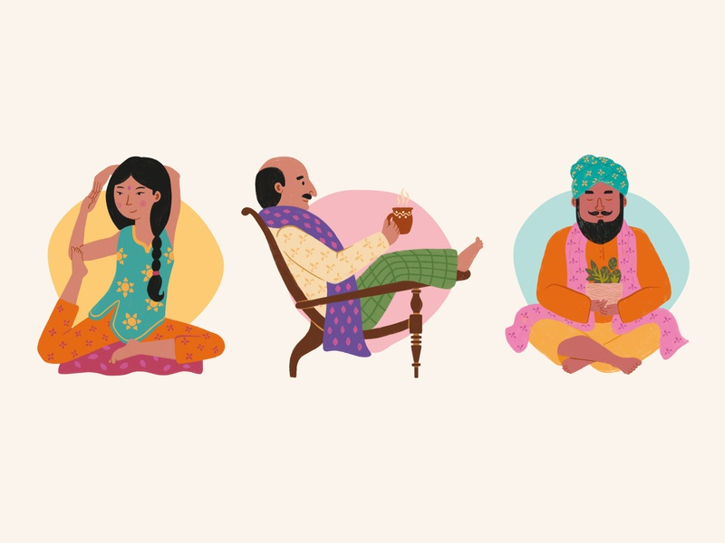 Indian characters ayurveda quirky relax care healthy health meditation yoga indian india cartoon colorful icon branding character vector illustration flat minimal simple