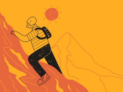 Mountain guy climbing sport illustration sport illustrator man illustration trekking hiking warm colors yellow mountain lineart characters cartoon colorful icon character illustration flat minimal simple