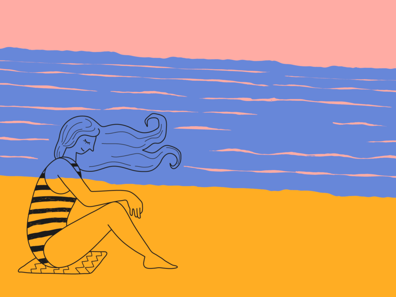 Beach girl wind quirky simple illustration women beach woman illustration woman girl illustration girl cartoon colorful branding character vector ui ux illustration flat minimal simple