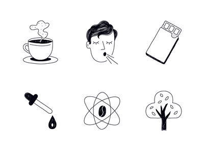 Packaging Icon set iconography linework lineart line black  white black coffee icons icon set design icon branding character vector ui ux illustration flat minimal simple