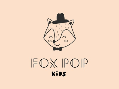 Fox Pop Kids logotype fox illustration mascot brand custom type baby fox logo fox type logo typography design icon branding character vector illustration flat minimal simple