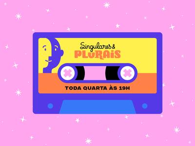 Singulares & Plurais visual identity illustrations pink retro face podcasting k7 tape audio podcast branding icon colorful design cartoon vector illustration flat minimal simple